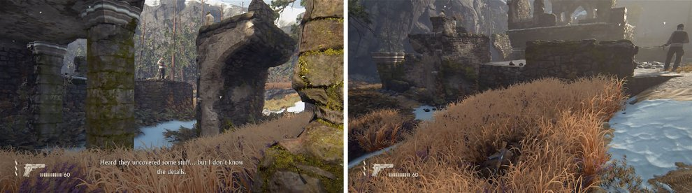 Pass through the arch and under behind the pillar with the enemy (left) to reach the tall grass in between the three Shoreline goons (right).