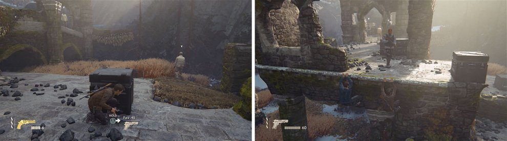 Ignore the enemy on the lower level (left) and work your way around the upper level starting here (right).
