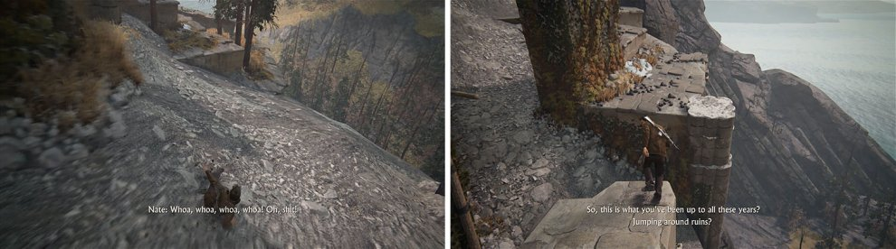 Make your way down the second gravel slope (left) and then look for the treasure beneath this platform (right).