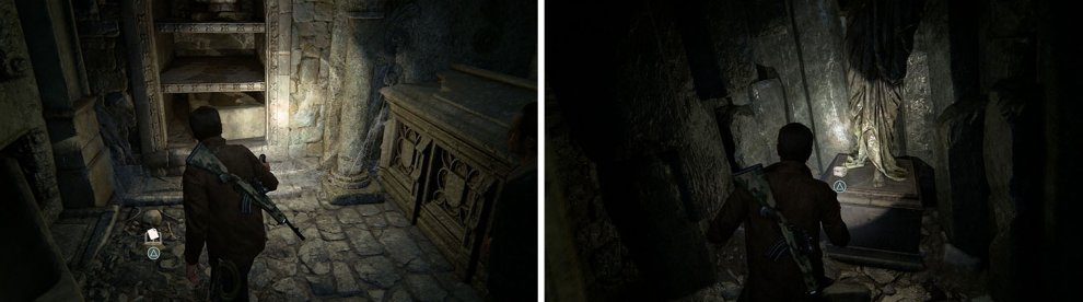 Search the crypt for a Journal Note down the stairs and a treasure in the final area.