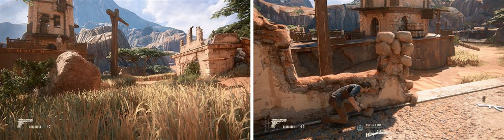 Hide in the grass until it's clear to cross to the right structure (left). After killing the enemy wait again to head to the main tower platform (right).