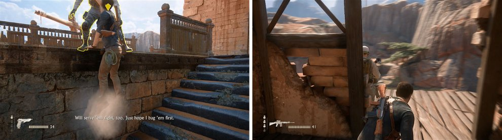After killing the other enemy near the stairs (left) climb up the tower, but watch out for this enemy on the third floor (right).