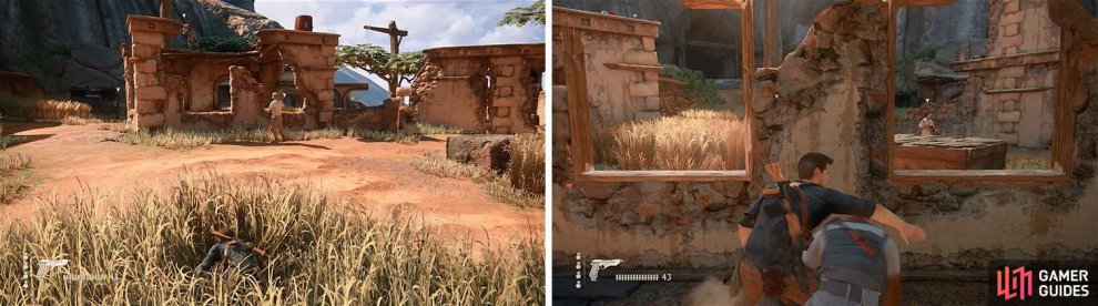 Circle through the grass to the opposite end of the area and kill the enemy (left) and then deal with the one in the nearby house (right).