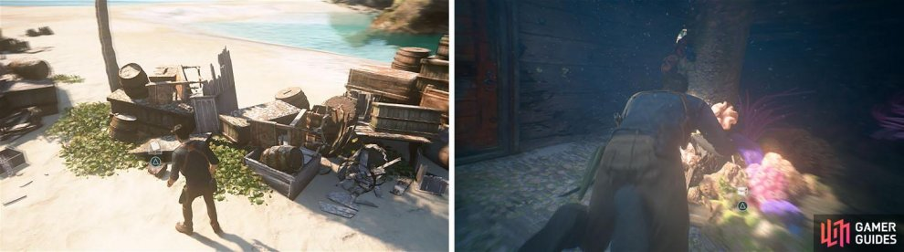 Check the supplies on the beach for a note (left) and then search the hold of the sunken ship for a treasure (right).
