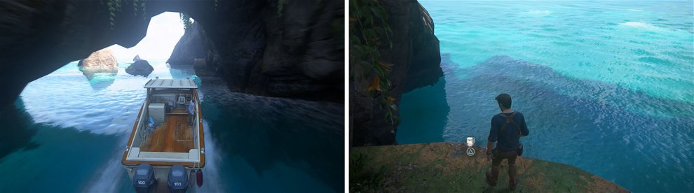 This ledge (left) will lead to a well hidden treasure above (right).