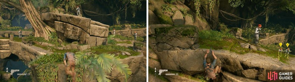 Pull up to the top of the pillar when it's clear and jump across to the ledge ahead (left). Wait for the right opportunity to climb up next to the enemy (right).