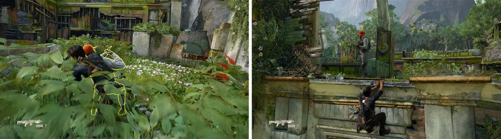 Hide in the plants to kill the first enemy (left) and then pull down the second from the ledge above (right).