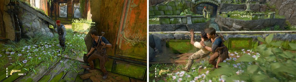 Stealth kill the enemy you avoided earlier (left) and then climb up the platform, where you can kill another enemy from the plant (right).
