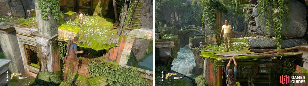 Jump toward the platform with the enemy (left) and hang from the ledge to avoid detection (right).
