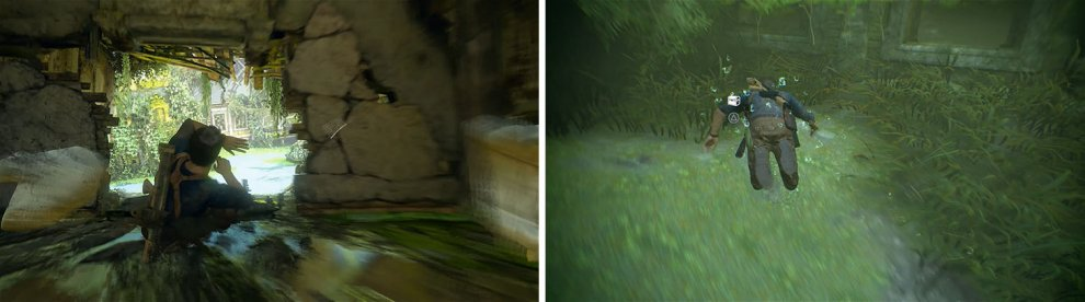 After falling through Want's mansion (left), check the corner of the building underwater to find a treasure (right).