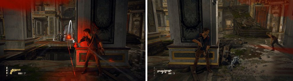Toss grenades at the enemy with the DShK (left) and then head up the ramp on the right to find better cover (right).