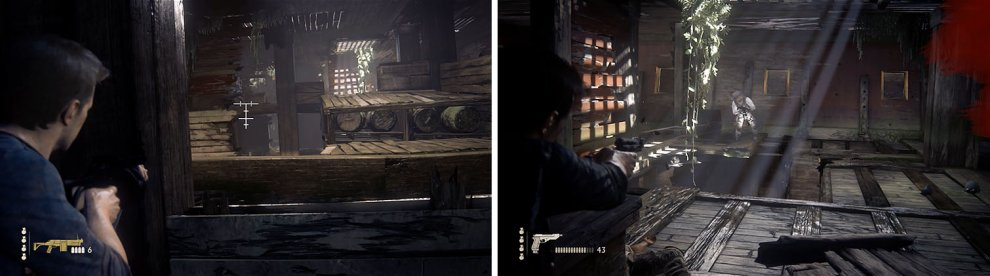 Take out the enemy with the grenade launcher on the upper level first (left) and then deal with the remaining enemies (right).