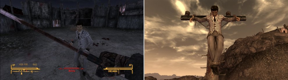 After you do Caesar's will in the bunker below Fortification Hill, you can deal with Benny however you please. Fighting him fairly in the arena is a fair, gratifying way to get revenge (left), but you can also choose to have him crucified, for a more sadistic, vindictive Courier (right).
