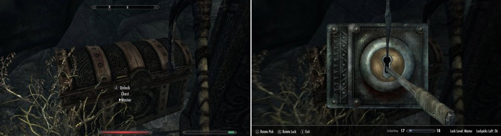 Locks are an unfortunate reality of life in Skyrim, and come in a variety of difficulties (left). Rotate your lockpick in the lock until you find the sweet spot to open locked containers.