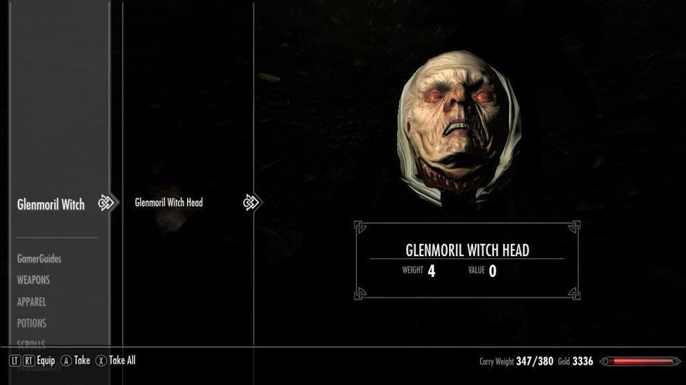 Glenmoril Witch Head as it appears in your inventory. Lovely, eh?
