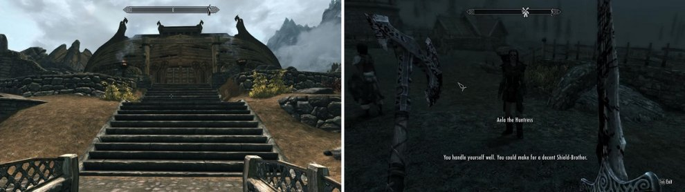 Find Jorrvaskar [Left] and talk to someone inside, or have a random encounter with a group of Companions out in the wilderness [Right].