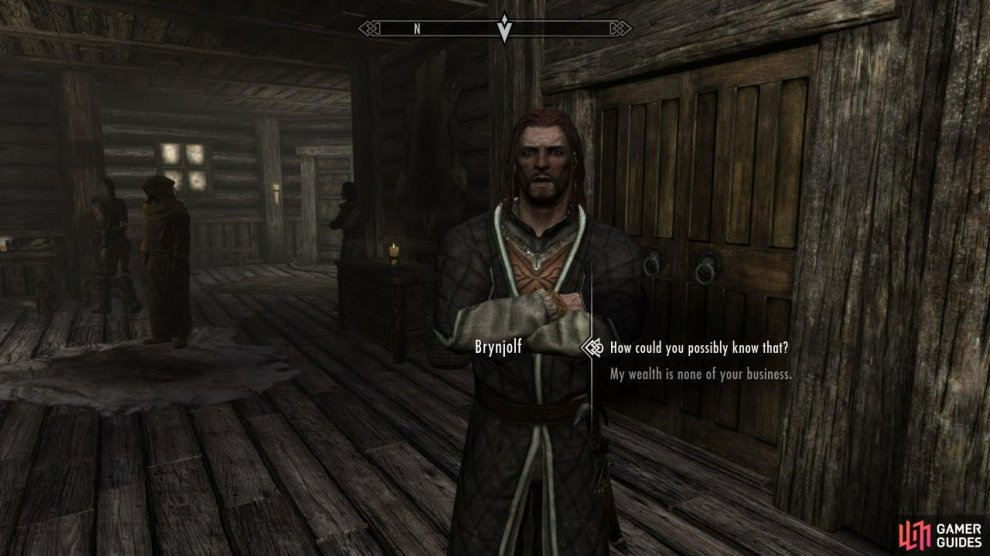 To start the Quests for the Thieves Guild, you need to head over to Riften. Once inside, move forward and you'll meet Moul. After a quick chat, ask about the Thieves Guild and he'll tell you to go find Brynjolf if you're interested. Go to the marketplace and look around for him.
