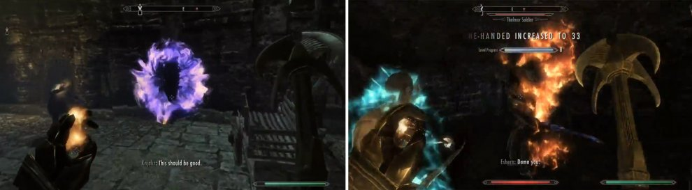As soon as you leave Esbern's place you'll run into a wizard and a Thalmor soldier.