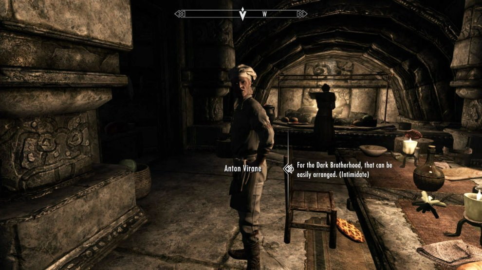 Anton lives in Markarth, so let's go fast travel there. Head to the back of the town and enter Understone Keep. Anton is the cook here and is up the path a ways and to the left (in the kitchen). Now, he has full time help with a young man for the day and during the evenings a maid will hang about, but if you wait until nighttime everyone will be in bed.