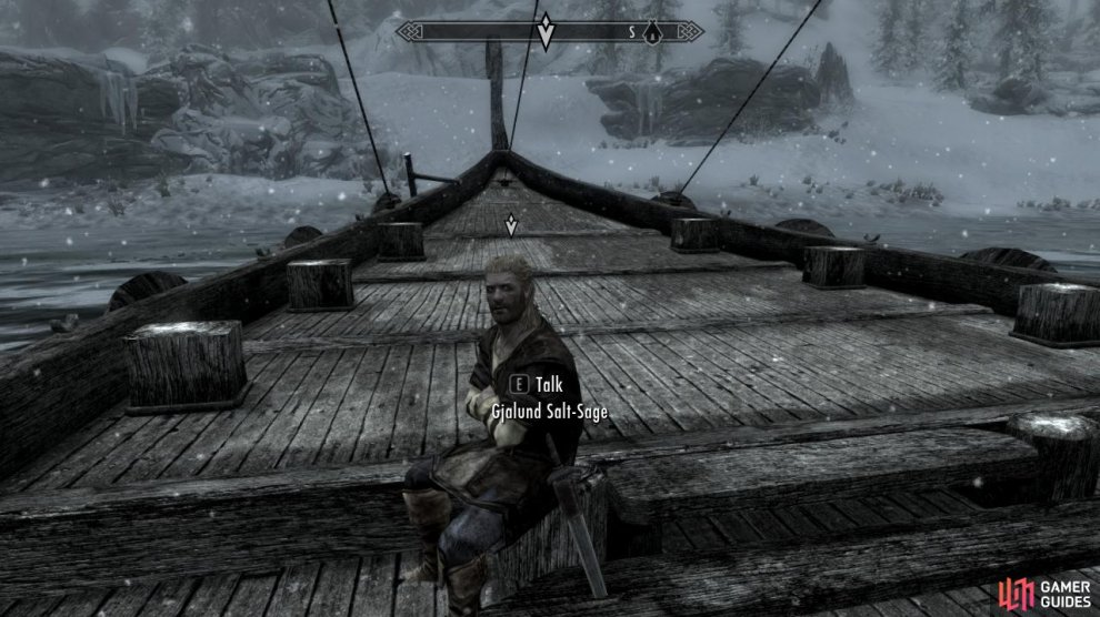 This guy can be found sitting on his boat just outside the Windhelm city walls.