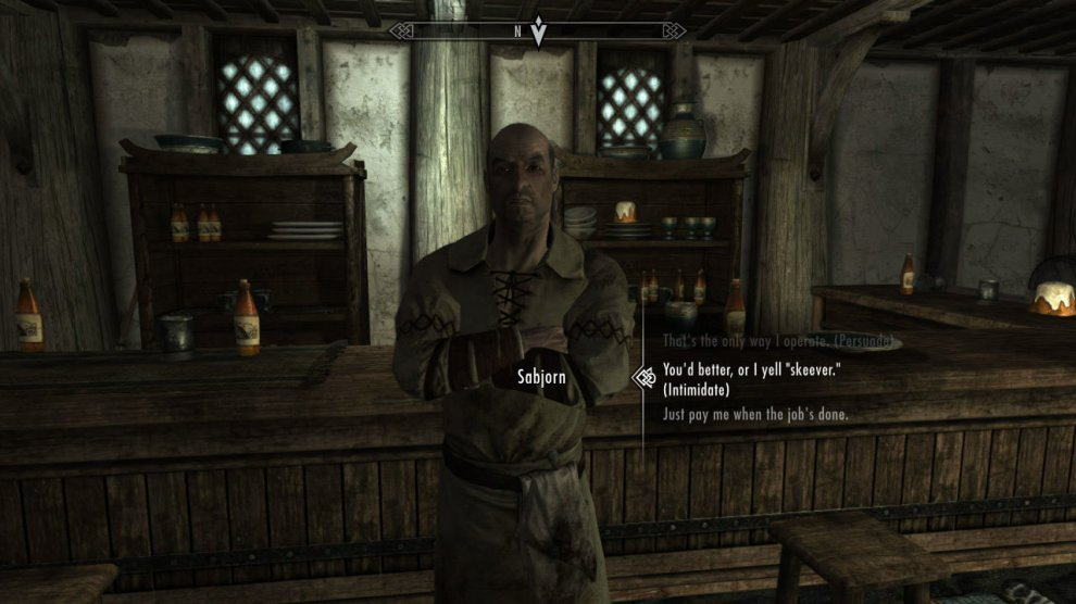 Now leave Whiterun and head over to Honningbrew Meadery, which is to the southeast of Whiterun. Inside, speak to Sabjorn. Tell him you're here to clear out his skeever problem and he'll hire you. Now you can use either PERSUADE or INTIMIDATE to get HALF of your pay (500 Gold) up front. Trust me, you want to get some upfront!