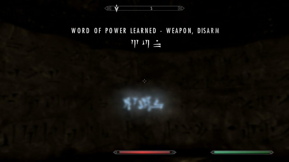 "In here; check the south side of the room to find a Word of Power: WEAPON - DISARM. Nice. There's also a LIGHT ARMOR skillbook on a table near where you came in at called ""Ice and Chitin""."