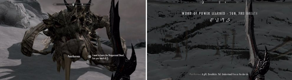 Go up and learn it and then equip it, as you need to actually use it on Paarthurnax to continue.