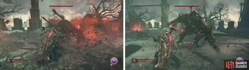 The boss provides slight openings for attack at the end of both his 3 hit (left) and 2 hit (right) melee combos.