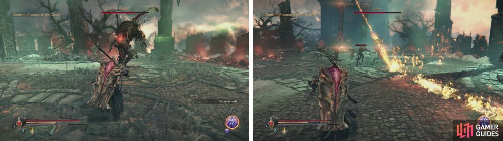 When the boss summons Infected, be sure to wail on him (left). Avoid the fire lines he shoots at all costs (right).