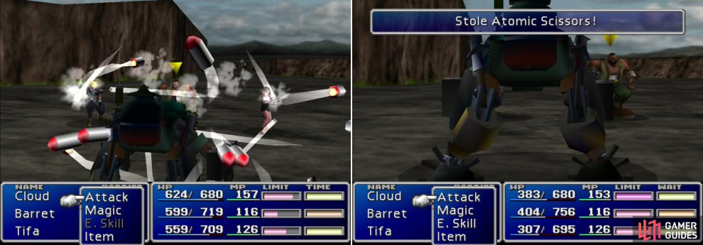 "You can learn your first Enemy Skill, ""Matra Magic"" from Custom Sweeper enemies around Midgar (left). You can also steal Atomic Scissors from them (right)."