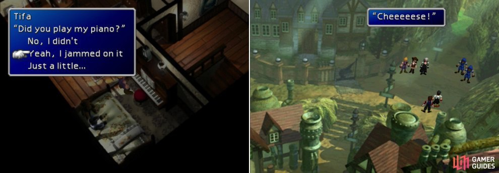 "Say you ""jammed on"" Tifa's piano to get rewards much, much later on (left). Before getting to work, pause for a fateful photo shoot (right)."