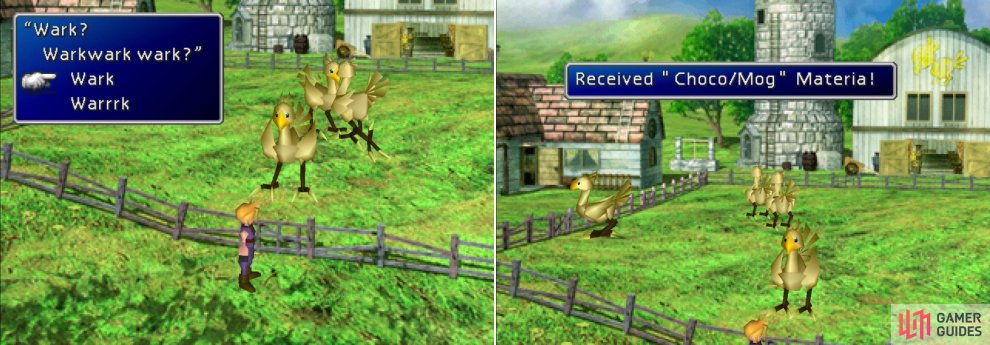 Respond to the Chocobos correctly (left) and, after their elegant dance, you'll obtain the Choco/Mog Materia (right).