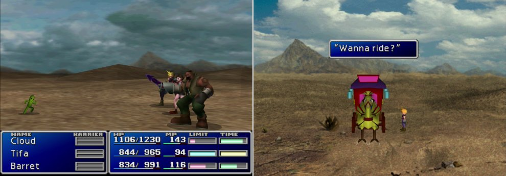 If you brave the deserts and are fortunate enough to encounter a Cactuar, killing one will earn you 10,000 Gil (left). If you get lost in the desert, keep exploring until you find the mysterious Chocobo carriage (right). It'll take you back to Corel Prison.