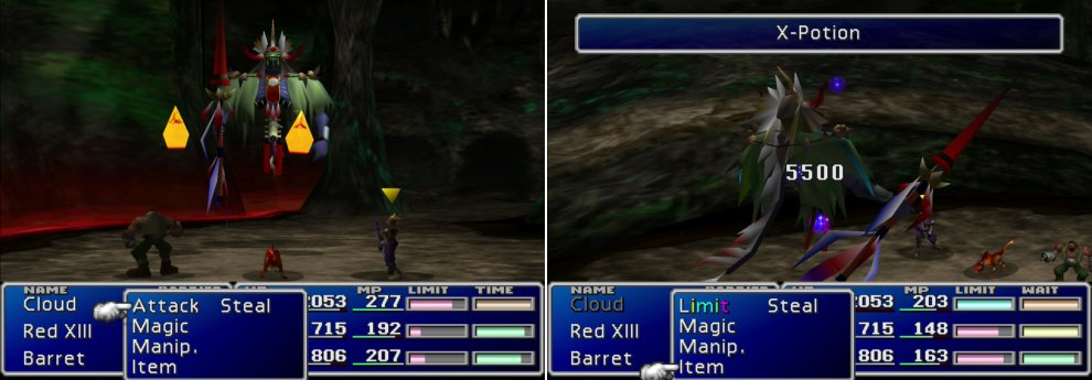 Gi Nattack is joined by two Soul Fire minion, who are only too happy to inflict fire damage on the party (left). If you've willing to spare an X-Potion, Gi Nattack can be killed in a single move (right). It doesn't pay to be undead in a Final Fantasy game.