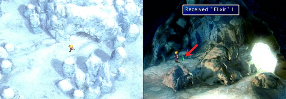 In the Ice Pillars area, enter the cave (left) and grab the Elixir inside (right).
