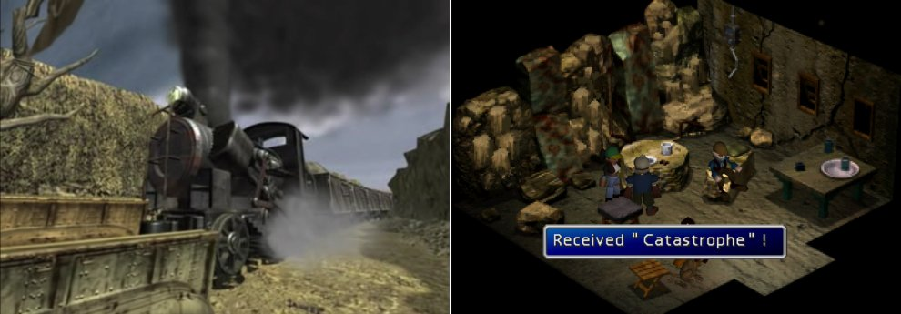 Defeat the Shinra guards and stop the train before it crashes into North Corel (left). For doing so you'll be generously rewarded by the townsfolk (right).