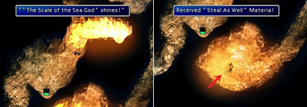 Use the Leviathan Scales to extinguish the flames in the caves on Da-chao (left) and claim some otherwise inaccessible loot, including the Steal As Well Materia (right).