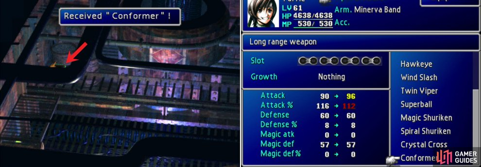 In a chest obscured by the foreground you'll find Yuffie's ultimate weapon, the Conformer (left). Not only is it Yuffie's most powerful weapon, it's also one of the strongest weapons in the game, thanks to how it charges (right).
