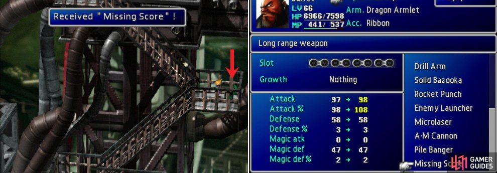 If Barrett is in your party you can find his ultimate weapon, the Missing Score, on the scaffolding leading up to the Sister Ray (left). This wonderful weapon charges based on how much AP is equipped in it (right), allowing him to do massive damage when he's properly equipped.