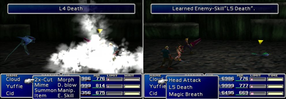 "Gargoyles will cast ""L4 Death"" as a final attack before they die (left), be sure to protect yourself with ""Death Force"". You can learn the ""L5 Death"" and ""Magic Breath"" Enemy Skills from Parasites (right)."