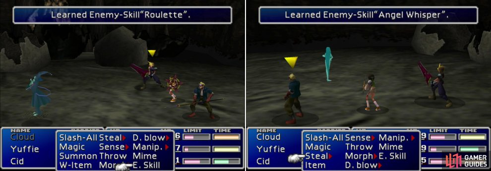 "Learn the ""Roulette"" Enemy Skill from the Death Dealer (left) and the more useful ""Angel Whisper"" Enemy Skill from the Pollensalta (right)."