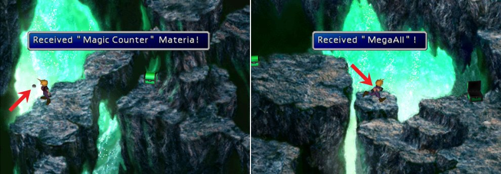 Grab the Magic Counter Materia humbly floating around in plain sight (left) then, while jumping between ledges, time pressing [Circle] (PS) or [OK] (PC) to obtain the MegaAll Materia (right).