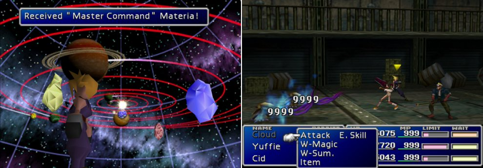 Master one of every type of command, summon or magic materia and you can obtain a piece of Master Materia from the Huge Materia you rescued (left). Yuffie - with her ultimate weapon - the Conformer is in league of her own when it comes to Morphing foes (right).