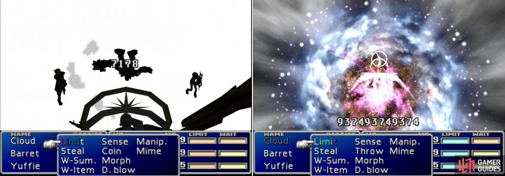 "Safer Sephiroth's ""Shadow Flare"" attack can deal massive damage to one character (left). But his most danger - and absurdly elaborate - attack is ""Super Nova"", which inflicts a number of status effects and reduces all party members to 1/16th of their current HP (right)."