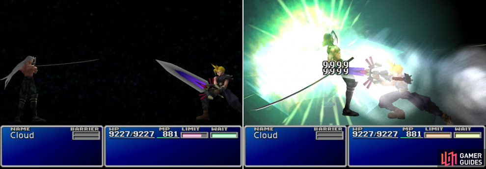 "Cloud and Sephiroth will face off one final time (left). After his Limit Meter charges, unleash Cloud's devastating ""Omnislash"" Limit Break to finally settle the score (right). This one's for you, Aeris."