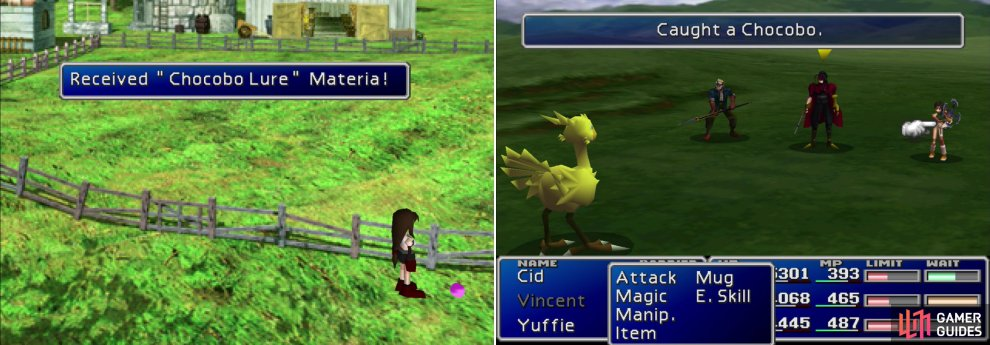 You can score some Chocobo Lure Materia if you return to the Chocobo Farm in disc 2 (left). Quickly kill the enemies traveling with a Chocobo to capture it!
