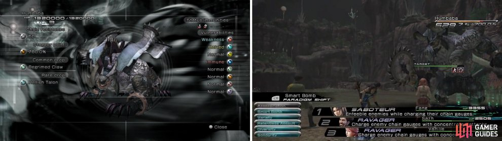 [Left] Humbaba Enemy Intel. [Right] Mark Location.