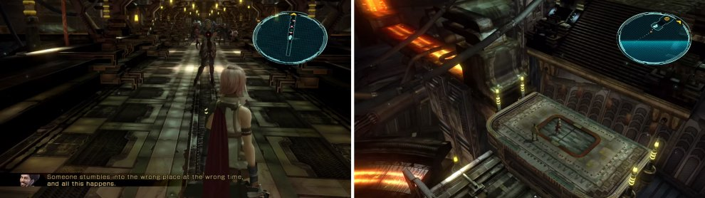 (Left) A corridor with six challenges. (Right) After the battles take the elevator up.