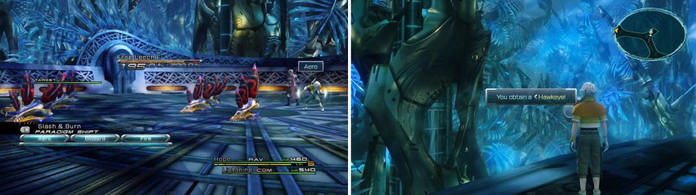 Fight the 6x Frag Leech (left) and then collect the Hawkeye weapon for Hope (right).