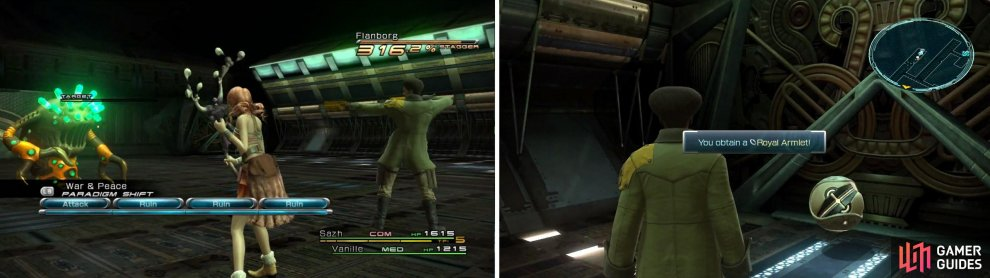 Flanborg enemy (left) and Royal Armlet location (right).